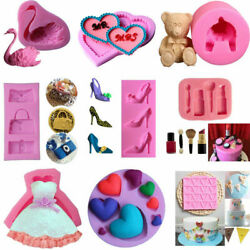 US 3D Silicone Fondant Mold Cake Sugarcraft Chocolate Cookie Baking Mould Tools