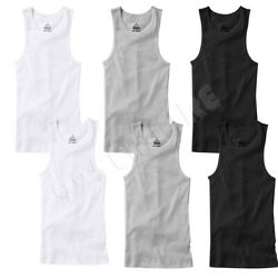 6 PACK Men Tank Top White 100% Cotton Undershirt Ribbed Size:S Medium Large XL $18.98