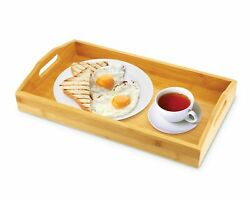 KOVOT Bamboo Serving Tray - Breakfast Butler Tray With Handles: 17