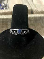 Lovely Vintage Sterling Silver Teardrop  Lapis Lazuli Bead Accent Ring Size 7
