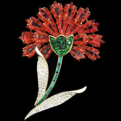 Trifari Philippe Invisibly Set Rubies & Emeralds Red Carnation Flower Pin