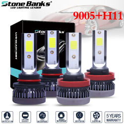 4PCS Combo 9005+H11 ICE BLUE 8000K LED Headlight Bulbs Kit 3200W High Low Beam