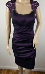 Xscape Women's Purple Party Cocktail Dress With Lace Cap Sleeves Size 8 $28.95