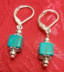 Turquoise Earrings custom made with 925 sterling silver lever back earrings