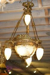 ANTIQUE  FRENCH FIGURAL GILDED BRONZE CRYSTAL CHANDELIER EAGLE HEADS STUNNING