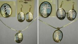 CLOISONNE LIGHTHOUSE PIN EARRINGS & NECKLACE 3PC SET-EXCLUSIVE-NEW