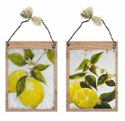 Lemon Pictures Yellow Fruit On Branch amp; Leaves Kitchen Bath Wall Hanging Plaques $10.99