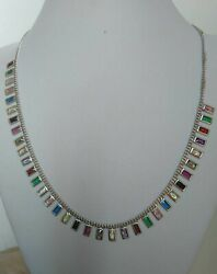 NATURAL MULTI-COLOR TOURMALINE 925 SILVER STERLING LADIES NECKLACE JEWELRY