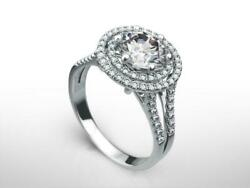 DS-R-85-175 2.75 CT D SI1 ROUND CUT DIAMOND 14 K WHITE GOLD DOUBLE HALO RING