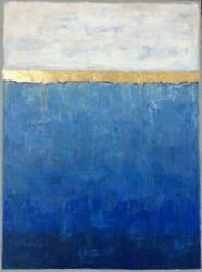blue abstract painting with gold leaf large wall art painting on canvas abstract $430.00
