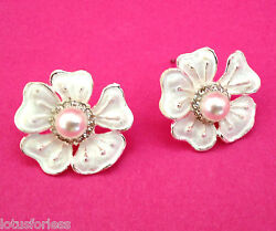 Diamante Stud Earrings with White Flower Design and Faux Pearl 2 cms drop