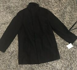 NWT Calvin Klein Mens Wool Blend Black Coat XL  Mock Neck