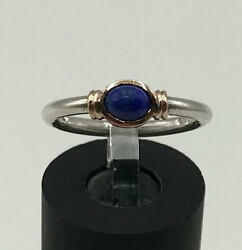 14K Solid Rose Gold and Sterling Silver Lapis Lazuli Ring