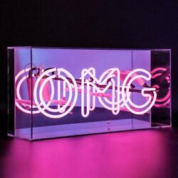 NEW Neon LED Light Up Sign - Acrylic Light Box - Bar Cocktails Disco - Pink OMG