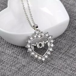925 Silver Plated MOM Mother Heart Cubic CZ Crystal Pendant Necklace 18