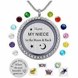 I Love My Niece To The Moon & Back Pendant NecklaceWhite Gold Plated Charms