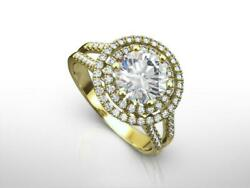 DS-R-85-234 2.75 CT H SI2 ROUND CUT DIAMOND 14 K YELLOW GOLD DOUBLE HALO RING