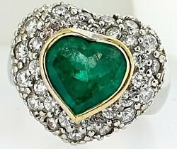 Certified Heart Shaped Colombian Emerald+Pave Diamonds~18K Gold Ring~$12550.00