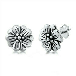 Flower Design Stud Earrings Sterling Silver 925 Rhodium Plated Finish 10 mm