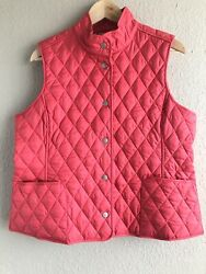 LLBean Women#x27;s Vest Diamond Quilted Button Down Pink Classic Lined Size L Petite $19.99