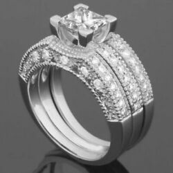 BAND DIAMOND RING 14 KT WHITE GOLD ACCENTS 1.98 CARAT ANTIQUE STYLE 4 PRONG