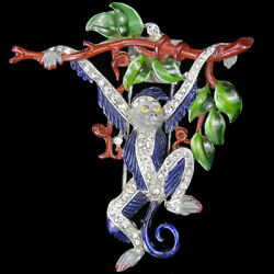 Trifari Philippe Pave and Enamel Monkey Swinging from a Branch Pin Clip