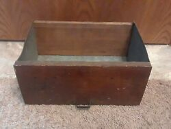Antique Vintage Primitive Wood And Galvanized Cabinet Drawer W Handle