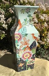 """Chinese Porcelain Famille Rose Square 18"""" Hand Painted Tobacco Pattern"""