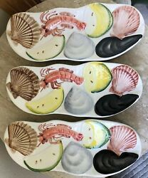 3 CRAWFISH Serving Side PLATE Dish Made In ITALY Mussels Lemons SET OF 3