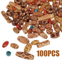 100Pcs Mixed Patterns Wooden Beads Large Hole for Boho Jewelry Making DIY Crafts