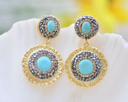 P7168 25mm Tray Turquoise Inlay CZ Gilding Dangle Earring
