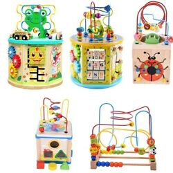 Educational Wooden Toy Kids Activity Cube Toddler Learning Baby Play Center Bead
