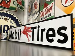 Antique Vintage Old Style Mobil Tires Sign Mobil Oil amp; Gas $74.99