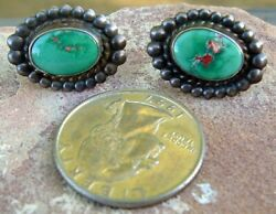 OLD STERLING SILVER & TURQUOISE SCREW BACK EARRINGS GORGEOUS TURQUOISE!!