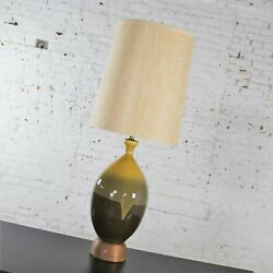 Large Mid Century Modern Ceramic Table Lamp Brown and Golden Yellow Drip Glaze $1195.00