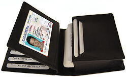 Black Men#x27;s Leather Bifold 18 Credit Business Card ID Center Flap Wallet Holder. $7.15