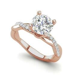 2.66 Ct Petite Twist Pave Round Cut Diamond Engagement Ring Rose Gold