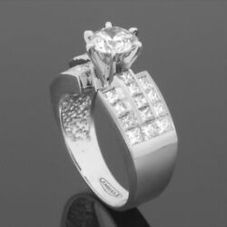 ROUND CUT DIAMOND RING SOLITAIRE W ACCENTS SI2 1.65 CARAT 14 KT WHITE GOLD