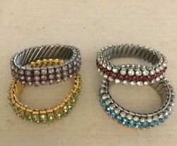 Vintage Rhinestone Expansion Bracelets Lot Of 4 Stretch Gorgeous Colors Nice!