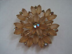 Vintage Gold Tone Flower Pin with Glass? Petals & Faux Rhinestone