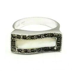 (SIZES 68) MOTHER OF PEARL Curve Stone RING w Marcasite .925 STERLING SILVER