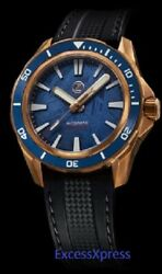 New Zelos SWORDFISH BRONZE 300M DIVER NH35 BLUE METEORITE 42mm w WARRANTY $749.00
