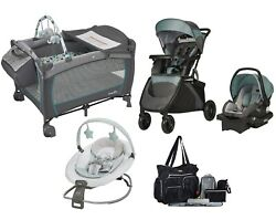 Evenflo Travel System Combo Set Stroller Car Seat Playard Duet Rocker Diaper Bag $539.99