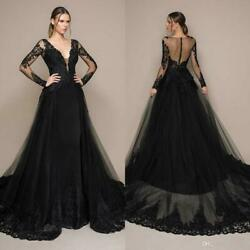 Black Lace Tulle Ball Evening Gown Women Long Pageant Party Celebrity Prom Dress