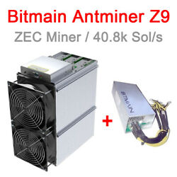 Bitmain Antminer Z9 BIG 42 ksols stock overclocks to ~50k-55ksol ASIC WITH PSU