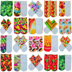 22 Pairs Novelty Women Girls Low Cut Ankle Socks Cotton 3D Animals Food Printing C $12.68