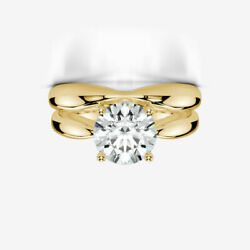 DIAMOND RING BAND SOLITAIRE 4 PRONGS WOMEN 3 CARATS ENGAGEMENT 14K YELLOW GOLD