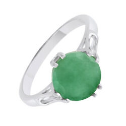 2.23 Carat Round Emerald Solitaire Ring May Birthstone in Sterling Silver $99.11