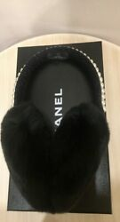 Authentic New CHANEL Fur EarMuffs Black Tweed Jewerly Pearls Limited Edition. $1,399.00