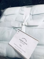 POTTERY BARN ~ ISABELLE TUFTED VOILE KING 2 PILLOW SHAMS N ICY BLU ~PILLOWCASES
